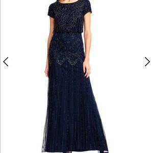 Adrianna Papell beaded blouson gown navy 16